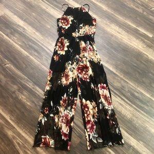 BNWT I Joah Backless Slit Leg Floral Jumpsuit